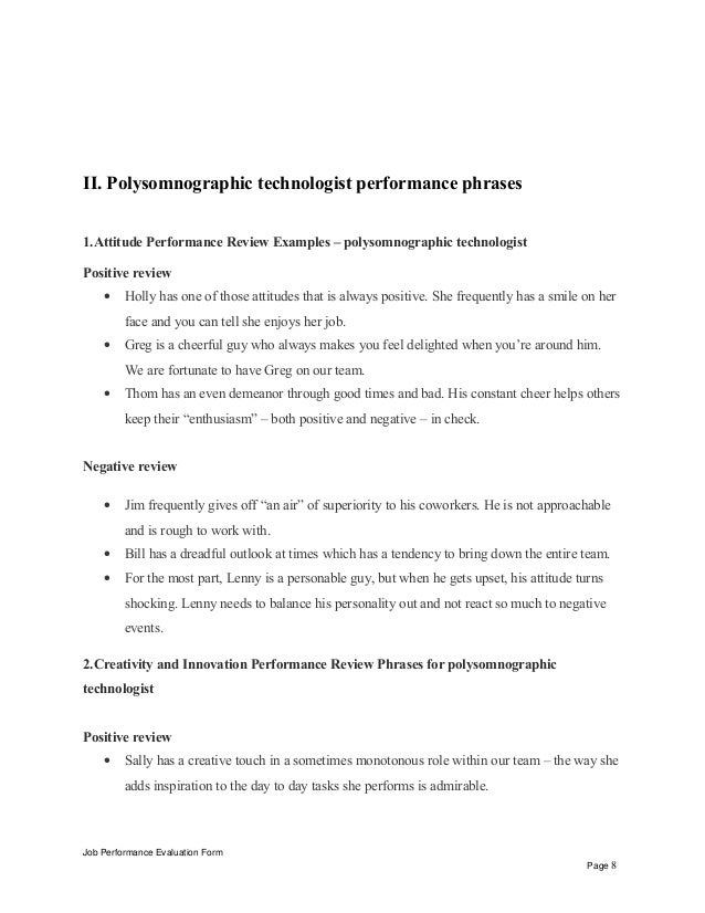 Job Performance Evaluation Form Page 7 8 II Polysomnographic Technologist
