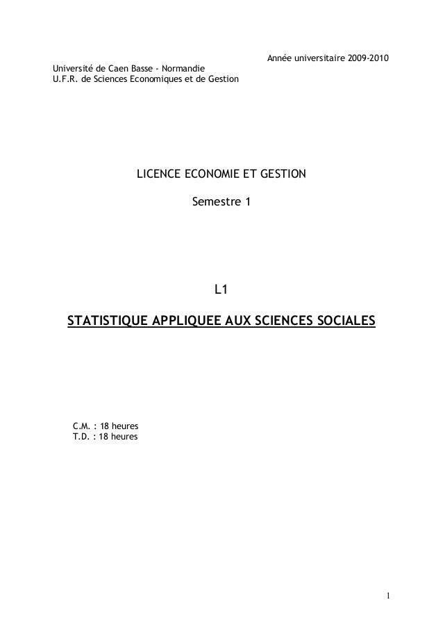 Année universitaire 2009-2010Université de Caen Basse - NormandieU.F.R. de Sciences Economiques et de Gestion             ...