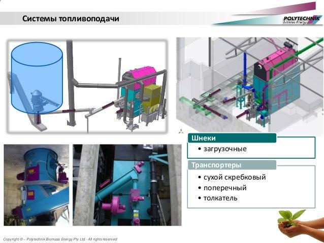 Copyright © – Polytechnik Biomass Energy Pty Ltd - All rights reserved Системы топливоподачи • загрузочные Шнеки • сухой с...