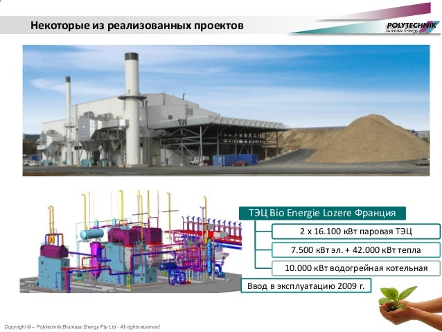 Copyright © – Polytechnik Biomass Energy Pty Ltd - All rights reserved Некоторые из реализованных проектов ТЭЦ Bio Energie...