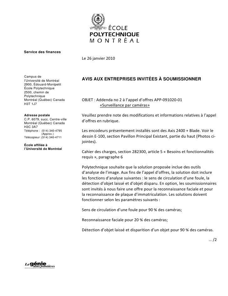 Service des finances                                 Le 26 janvier 2010    Campus de l'Université de Montréal        AVIS ...