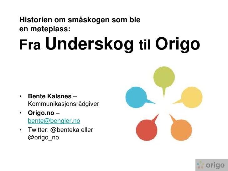 Historien om småskogen som bleen møteplass:Fra Underskog til Origo <br />Bente Kalsnes – Kommunikasjonsrådgiver<br />Origo...