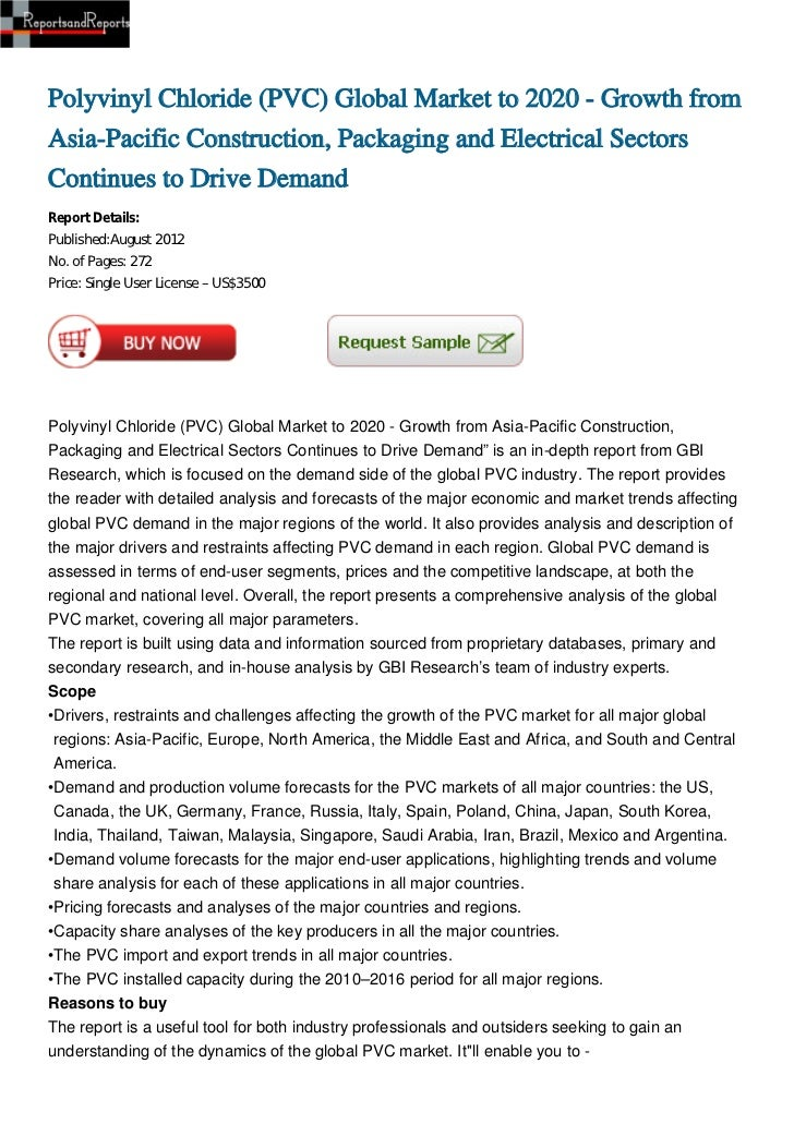 Polyvinyl Chloride (PVC) Global Market to 2020 - Growth fromAsia-Pacific Construction, Packaging and Electrical SectorsCon...