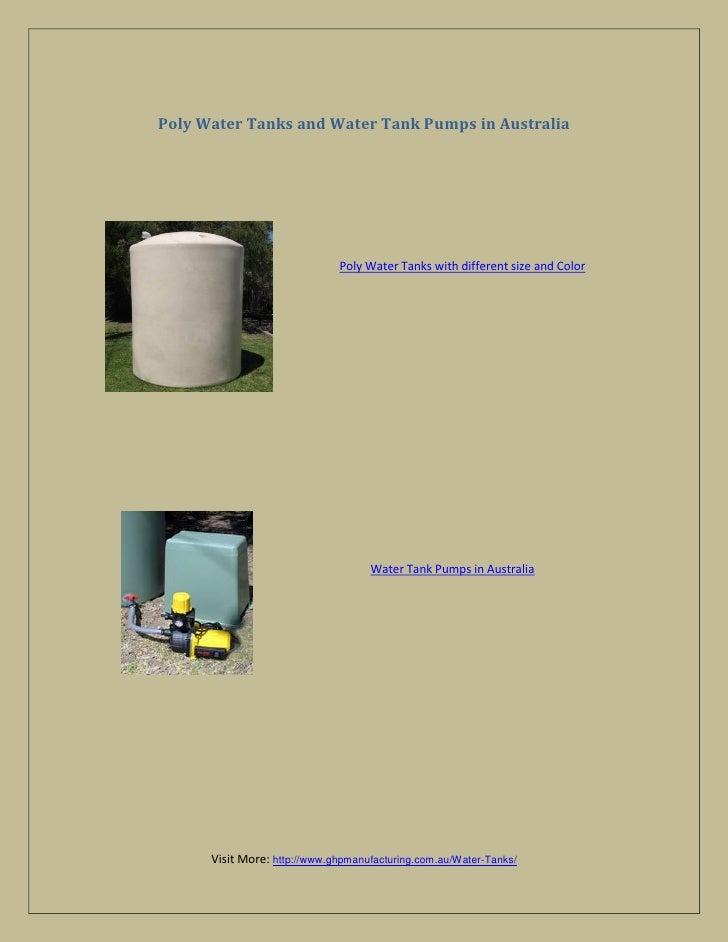 Poly Water Tanks and Water Tank Pumps in Australia                              Poly Water Tanks with different size and C...