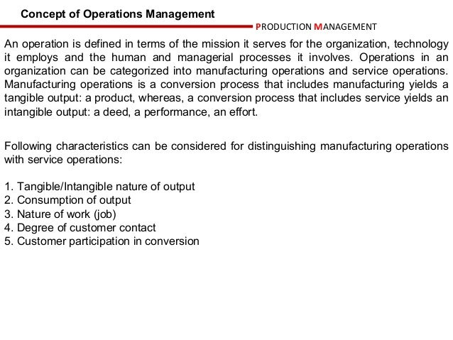 what do you mean by manufacturing operations