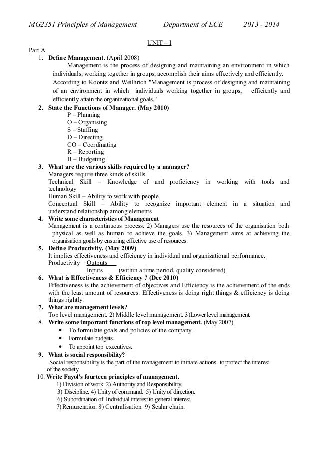 MG2351 Principles of Management  Department of ECE  2013 - 2014  UNIT – I Part A 1. Define Management. (April 2008) Manage...