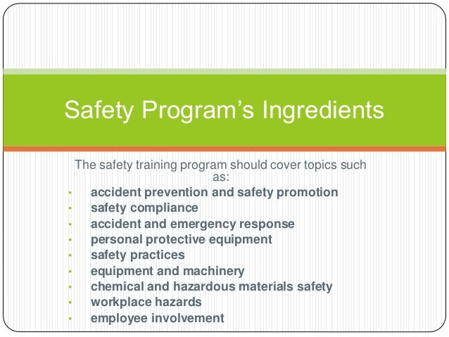 Major Considerations In Setting Up Safety Program