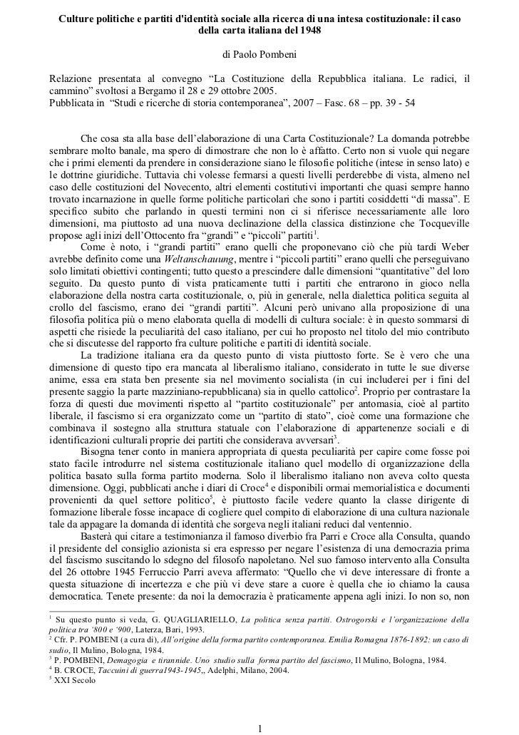 Culture politiche e partiti didentità sociale alla ricerca di una intesa costituzionale: il caso                          ...
