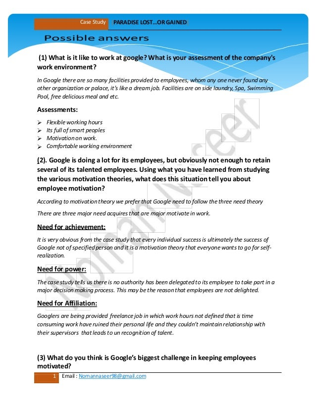 case study on motivation with solution Employee job relocation case study solution  in this case, most firms have  been motivated to send their employees to foreign countries as part of a.