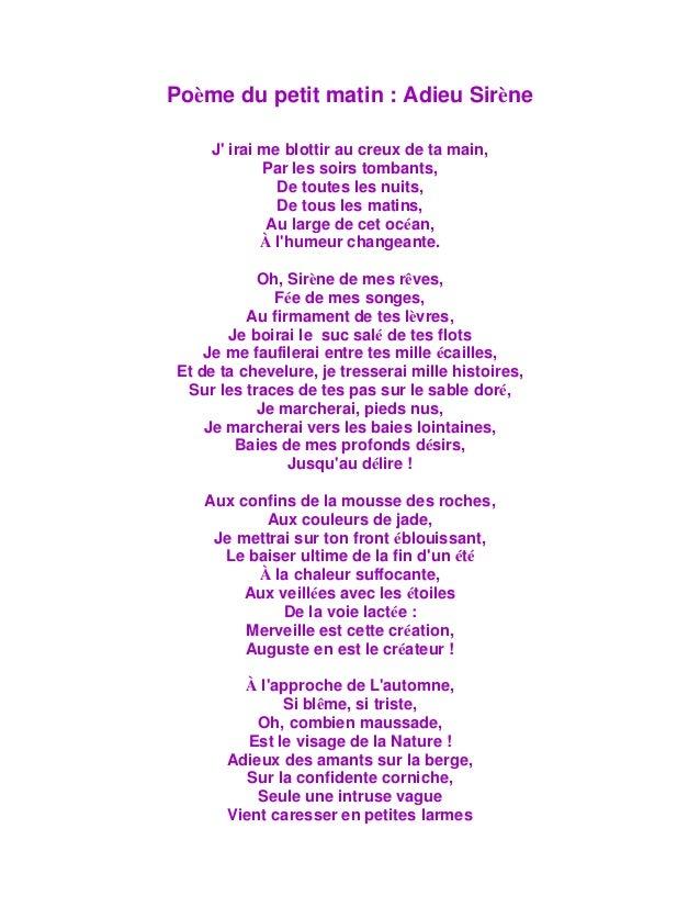 Poème Du Petit Matin Adieu Sirène