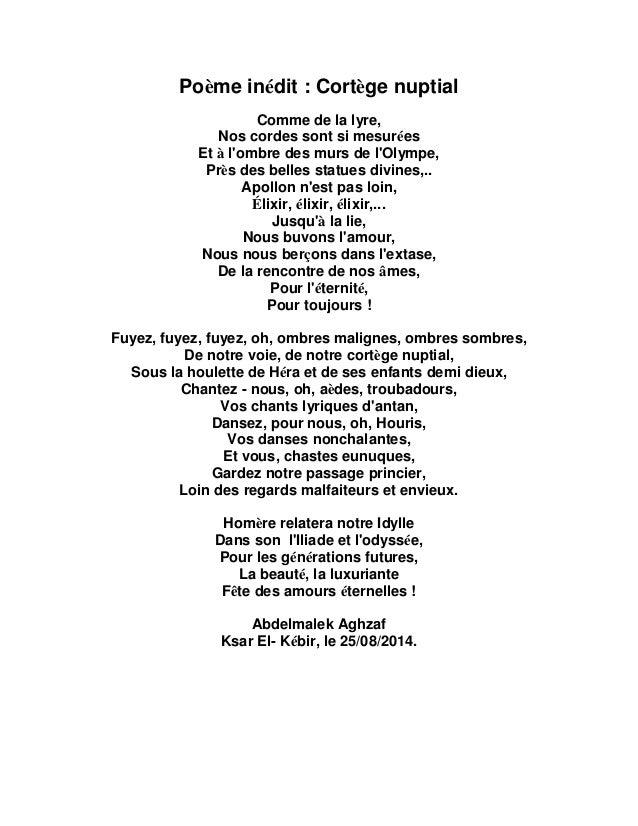Poème Inédit Cortège Nuptial