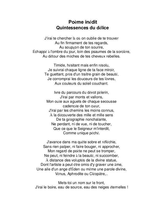 Poème Inédit Quintessence Du Délice