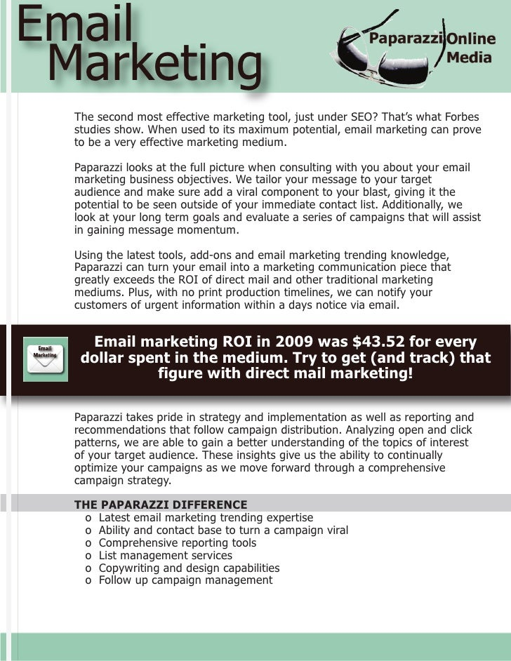 Email  Marketing   The second most effective marketing tool, just under SEO? That's what Forbes   studies show. When used ...