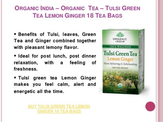 Organic India - Organic Tea Tulsi Green Tea Pomegranate, Lemon Ginger…