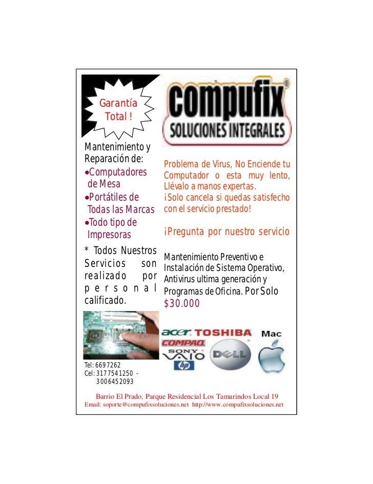 Garantía      Total !Mantenimiento yReparación de:              Problema de Virus, No Enciende tuComputadores            ...