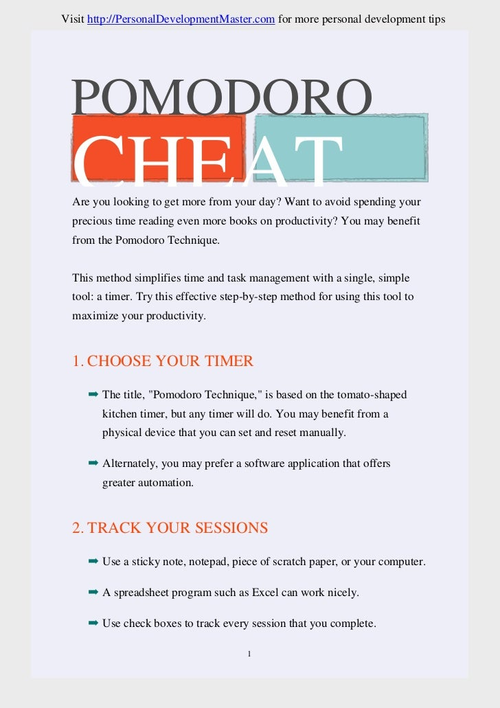 Pomodoro Technique Cheat Sheet
