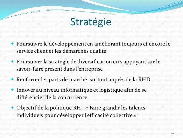 Stratégie Poursuivre le développement en améliorant toujours et encore le  service client et les démarches qualité Pours...