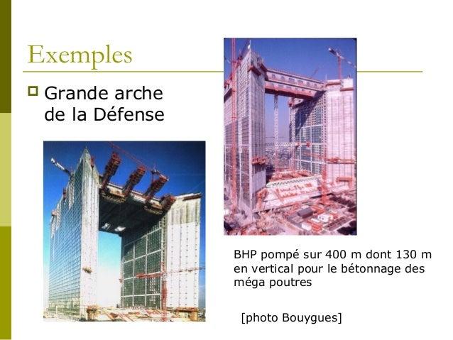 Exemples  Grande arche de la Défense BHP pompé sur 400 m dont 130 m en vertical pour le bétonnage des méga poutres [photo...