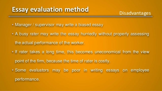 principles of management performance appraisal methods essay evaluation method
