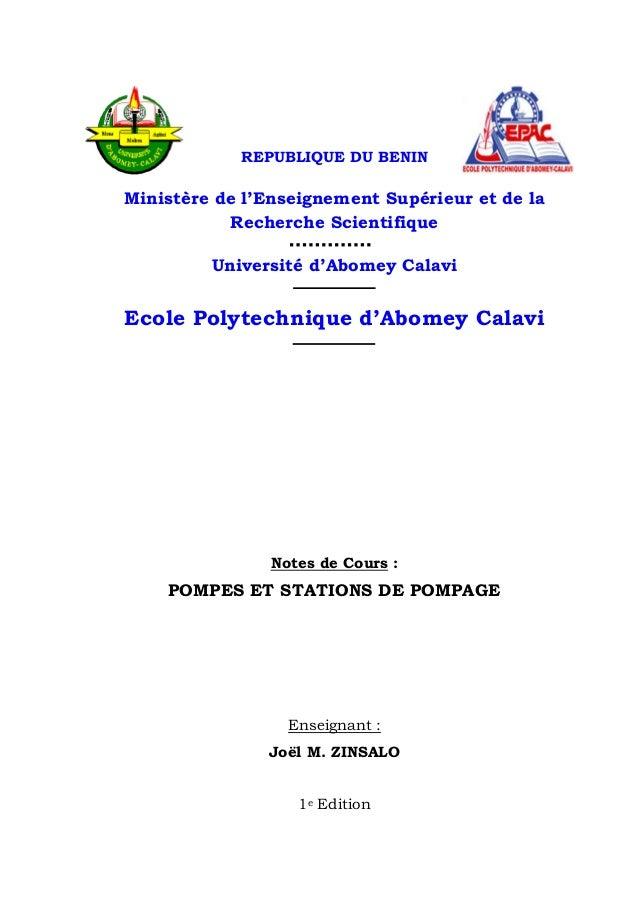 REPUBLIQUE DU BENIN Ministère de l'Enseignement Supérieur et de la Recherche Scientifique Université d'Abomey Calavi Ecole...