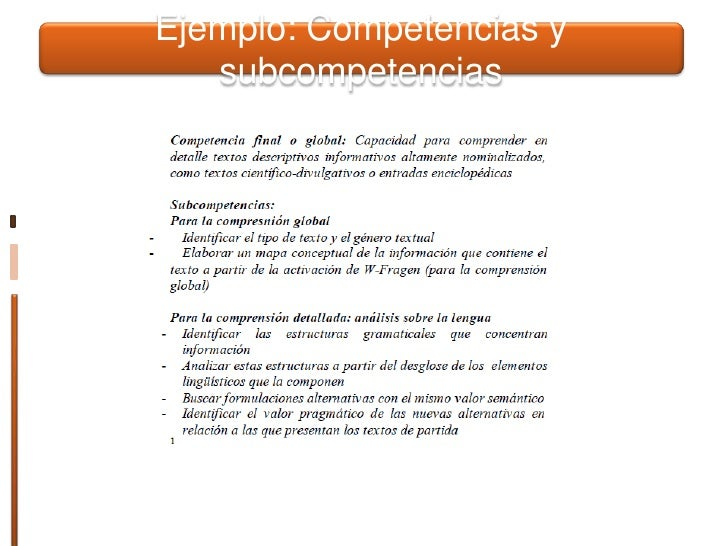Ejemplo: Competencias y subcompetencias