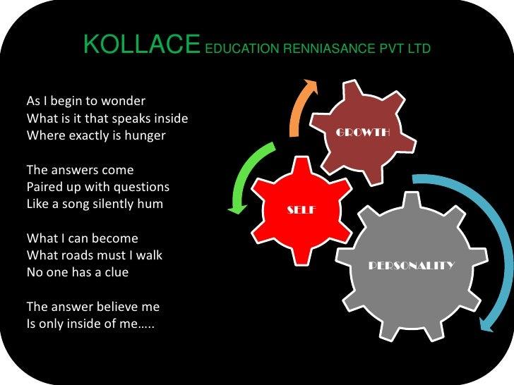 KOLLACE EDUCATION RENNIASANCE PVT LTD  As I begin to wonder What is it that speaks inside                                 ...