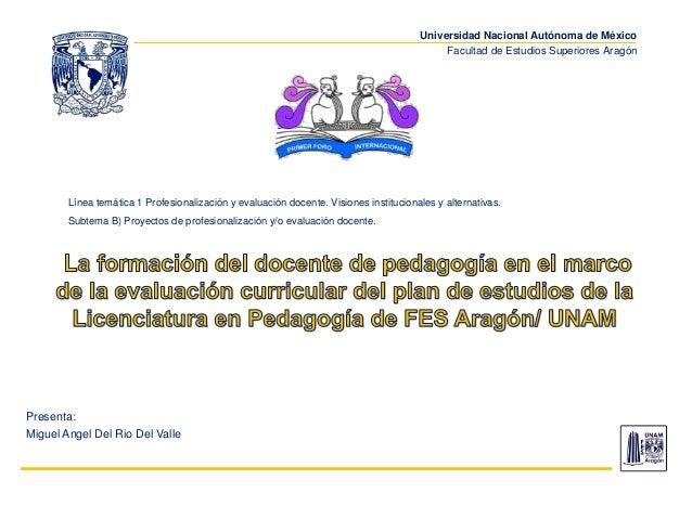 Universidad Nacional Autónoma de México Facultad de Estudios Superiores Aragón Presenta: Miguel Angel Del Rio Del Valle Lí...