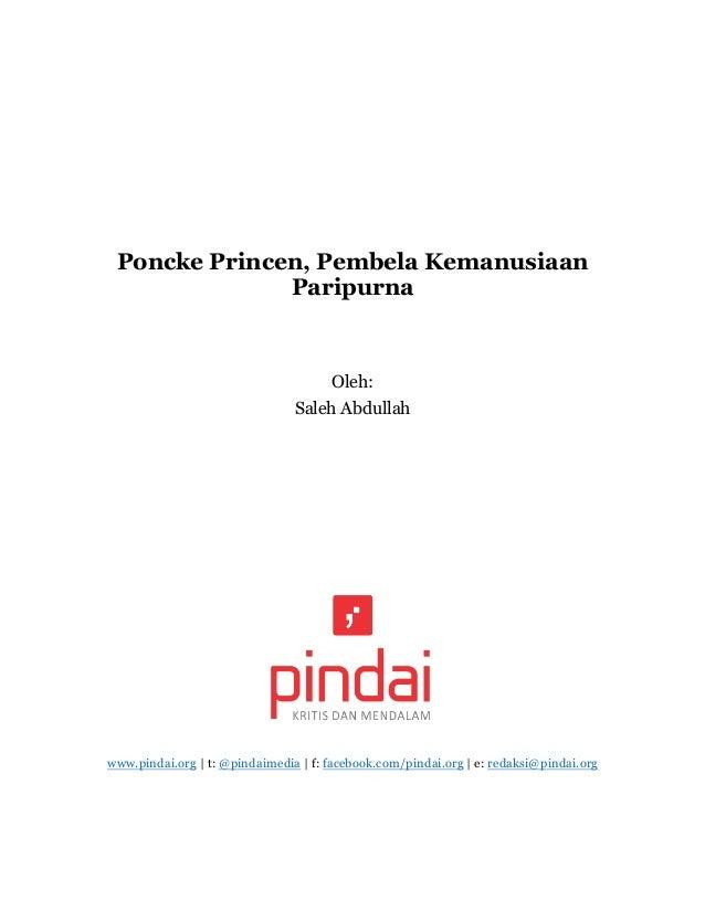 Poncke Princen, Pembela Kemanusiaan Paripurna Oleh: Saleh Abdullah www.pindai.org | t: @pindaimedia | f: facebook.com/pind...
