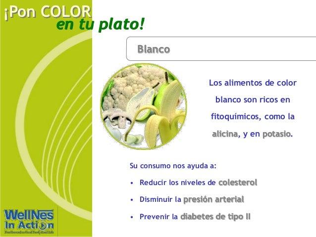 en tu plato! ¡Pon COLOR Blanco Los alimentos de color blanco son ricos en fitoquímicos, como la alicina, y en potasio. Su ...