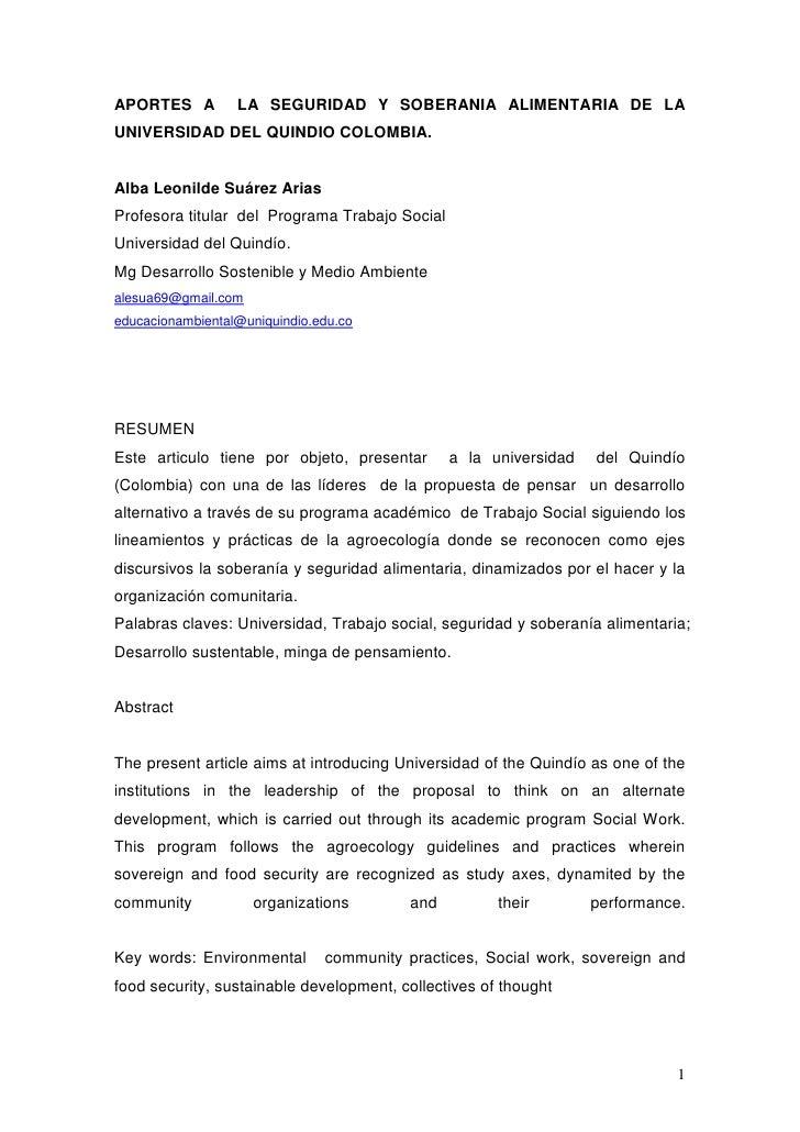 APORTES A  LA SEGURIDAD Y SOBERANIA ALIMENTARIA DE LA UNIVERSIDAD DEL QUINDIO COLOMBIA.<br />Alba Leonilde Suárez Arias<br...
