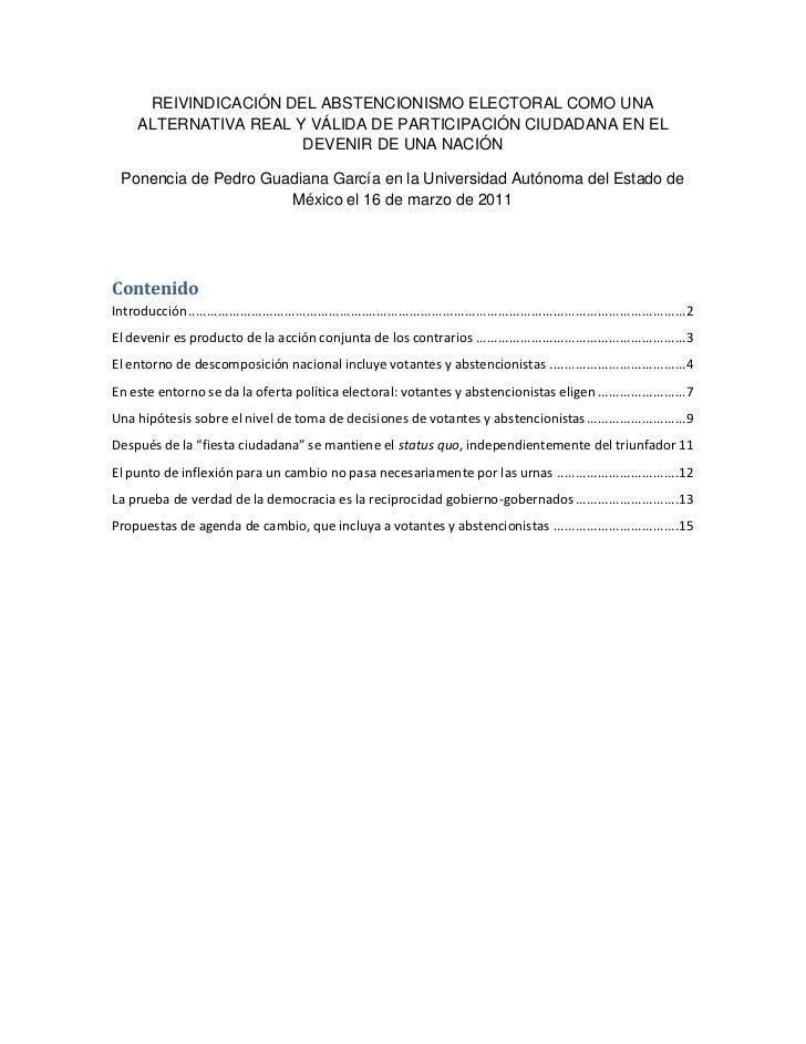 REIVINDICACIÓN DEL ABSTENCIONISMO ELECTORAL COMO UNA      ALTERNATIVA REAL Y VÁLIDA DE PARTICIPACIÓN CIUDADANA EN EL      ...
