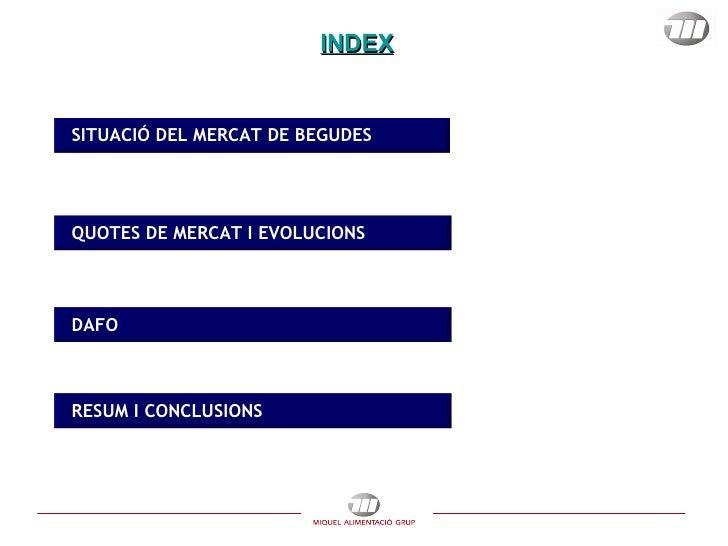 INDEX SITUACIÓ DEL MERCAT DE BEGUDES  QUOTES DE MERCAT I EVOLUCIONS DAFO RESUM I CONCLUSIONS