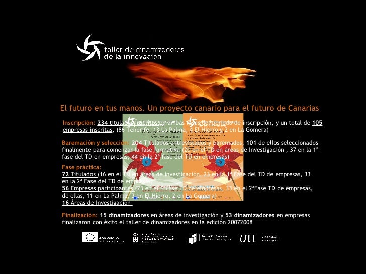 El futuro en tus manos. Un proyecto canario para el futuro de Canarias Inscripción:  234  titulados inscritos  en ambas fa...