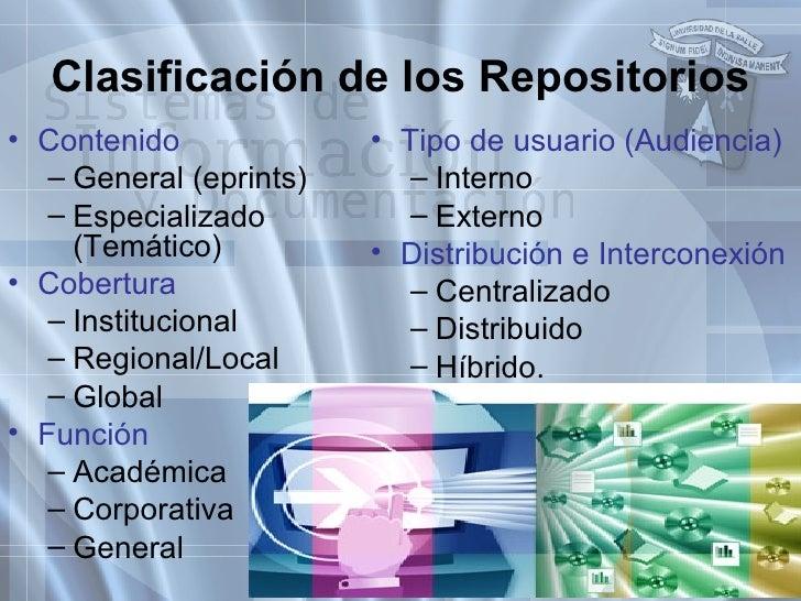 <ul><li>Contenido </li></ul><ul><ul><li>General (eprints) </li></ul></ul><ul><ul><li>Especializado (Temático) </li></ul></...