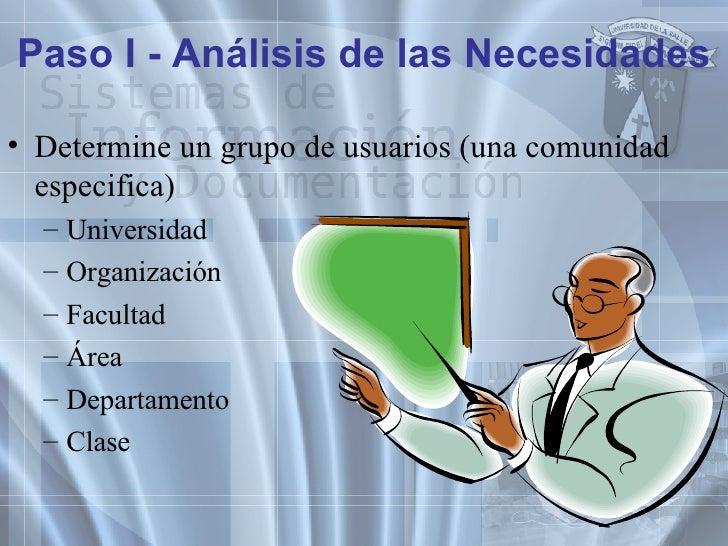 Paso I - Análisis de las Necesidades <ul><li>Determine un grupo de usuarios (una comunidad especifica) </li></ul><ul><ul><...