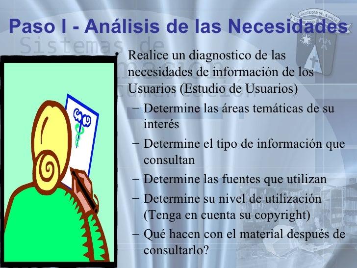 Paso I - Análisis de las Necesidades <ul><li>Realice un diagnostico de las necesidades de información de los Usuarios (Est...