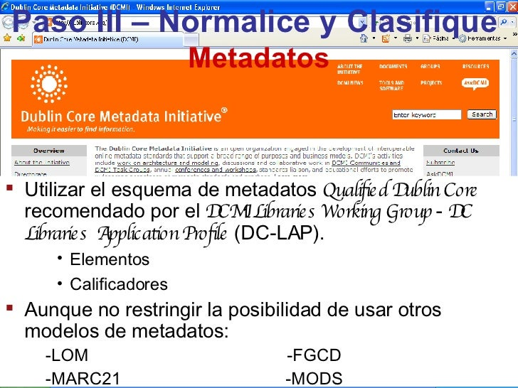 Paso III – Normalice y Clasifique   Metadatos <ul><li>Utilizar el esquema de metadatos  Qualified Dublin Core   recomendad...