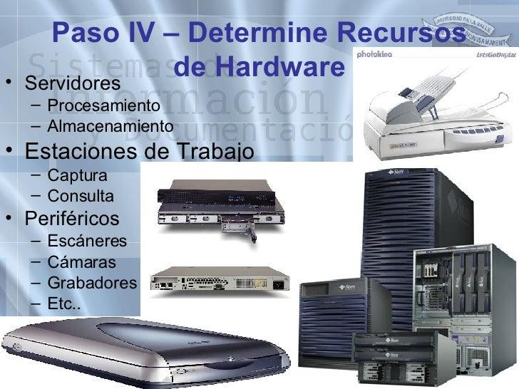 Paso IV – Determine Recursos de Hardware <ul><li>Servidores </li></ul><ul><ul><li>Procesamiento </li></ul></ul><ul><ul><li...