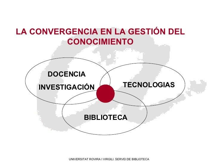 Docencia / Investigación, tecnologias y biblioteca: la convergencia en la gestión del conocimiento Slide 2