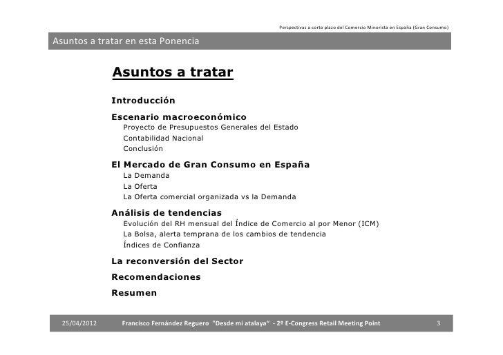 Perspectivas a corto plazo del comercio minorista en España (Gran Consumo) Slide 3