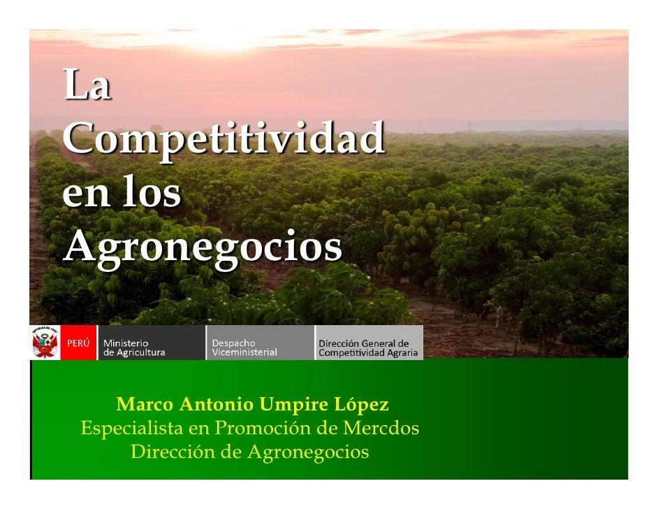 LaCompetitividaden losAgronegocios   Marco Antonio Umpire LópezEspecialista en Promoción de Mercdos     Dirección de Agron...