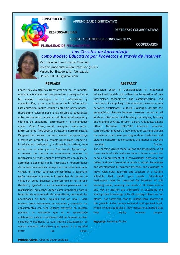 Los Círculos de Aprendizaje                    como Modelo Educativo por Proyectos a través de Internet                  M...