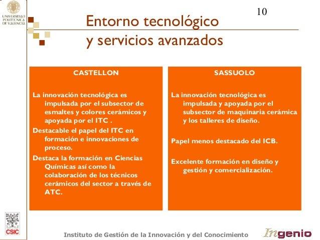 10  Entorno tecnológico  y servicios avanzados  CASTELLON  La innovación tecnológica es  impulsada por el subsector de  es...