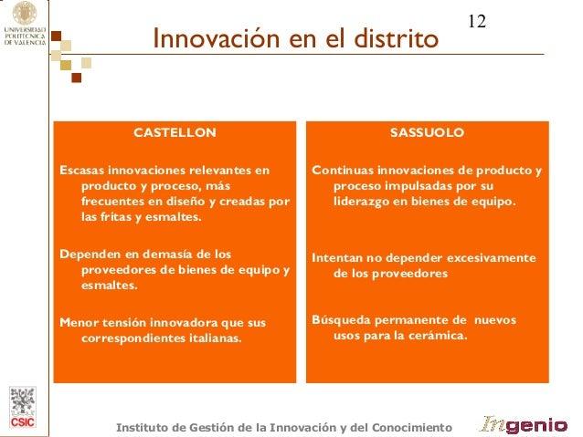 12  Innovación en el distrito  CASTELLON  Escasas innovaciones relevantes en  producto y proceso, más  frecuentes en diseñ...