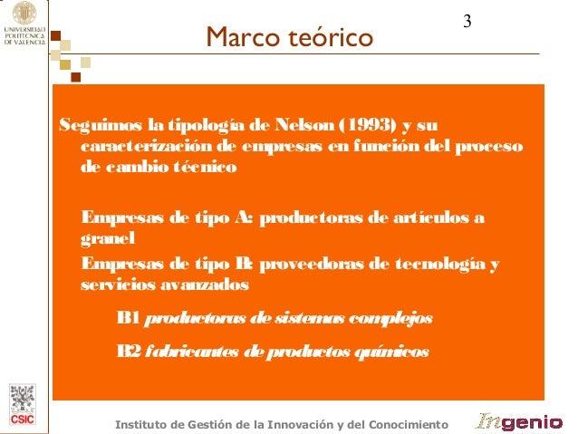 3  Marco teórico  Seguimos la tipología de Nelson (1993) y su  caracterización de empresas en función del proceso  de camb...