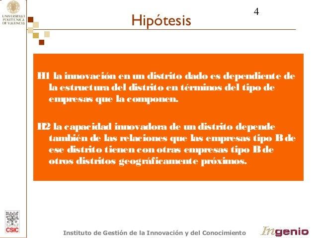 4  Hipótesis  H1 la innovación en un distrito dado es dependiente de  la estructura del distrito en términos del tipo de  ...