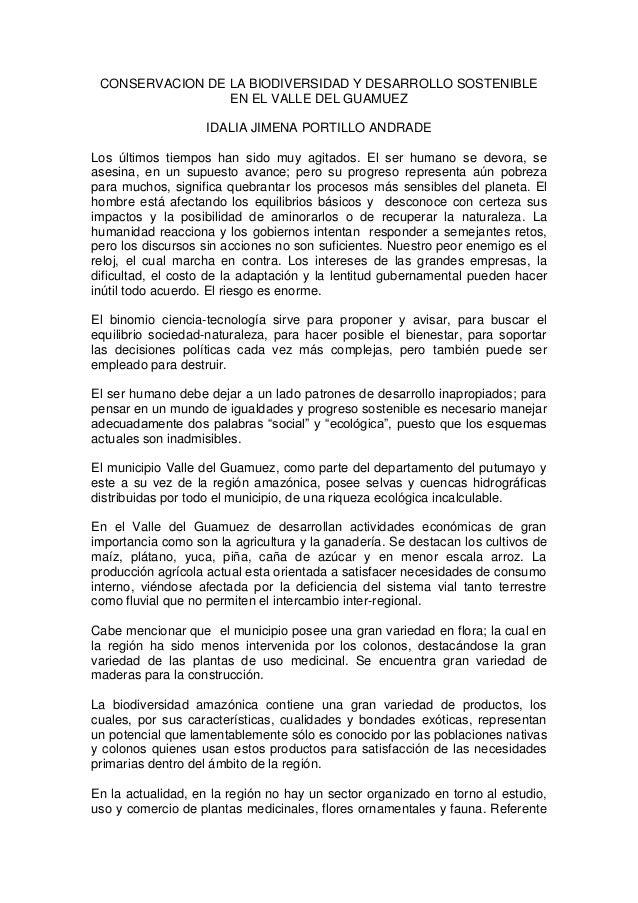 CONSERVACION DE LA BIODIVERSIDAD Y DESARROLLO SOSTENIBLE EN EL VALLE DEL GUAMUEZ IDALIA JIMENA PORTILLO ANDRADE Los último...