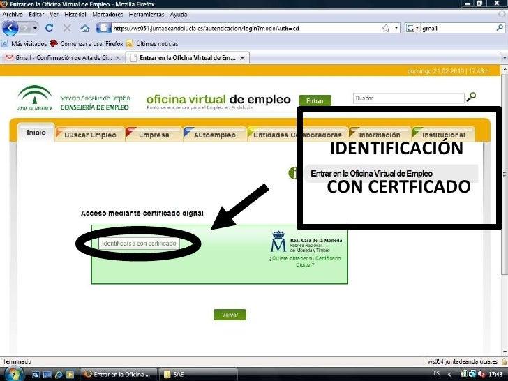 Ponencia certificado digital andalucia orienta for Sae oficina virtual renovar demanda