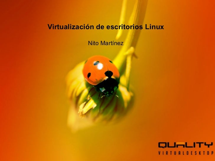 Nombre del Producto Fulanito de Tal Cargo Virtualización de escritorios Linux Nito Martínez