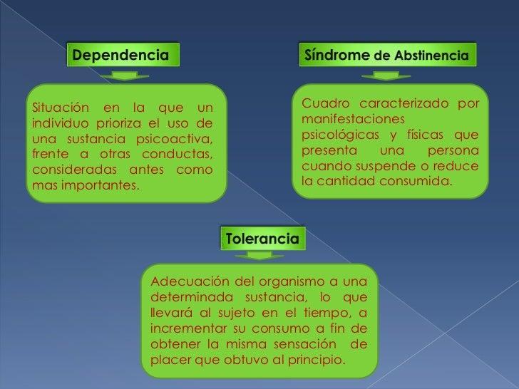 Dependencia <br />Síndrome de Abstinencia<br />Cuadro caracterizado por manifestaciones psicológicas y físicas que present...